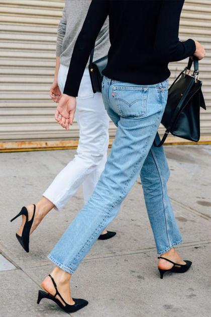极细鞋带小猫跟单鞋街拍