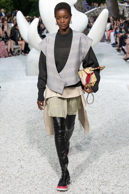 Louis Vuitton 2019早春系列的肩部廓形