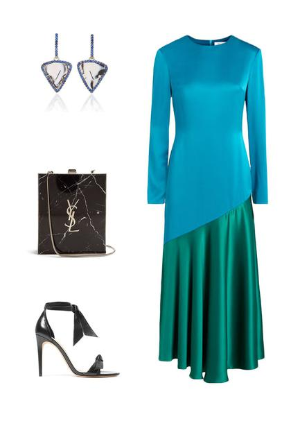 Racil连衣裙;Alexandre Birman高跟鞋;Saint Laurent手包; Kimberly McDonald耳坠