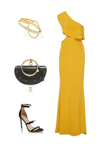 Cushnie et Och礼服裙;Tamara Mellon高跟鞋;Chloé手包;Gaelle Khouri钻石戒指