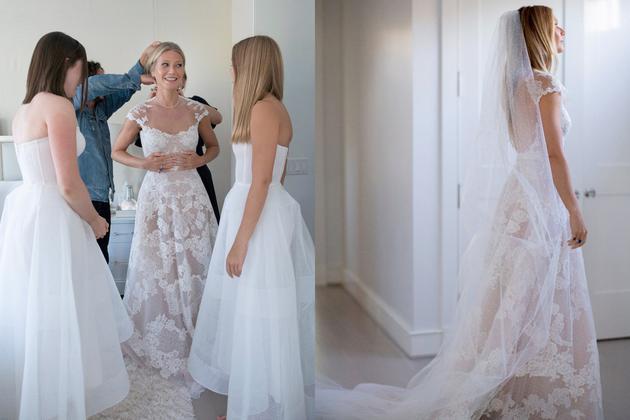 Gwyneth Paltrow身穿Valentino婚纱