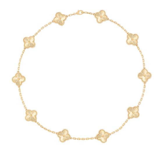 Vintage Alhambra项链,10枚四叶幸运图案 玑镂雕花黄K金