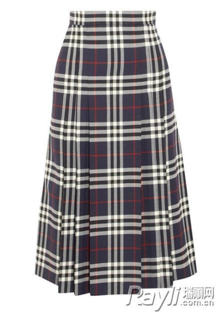 Burberry格纹羊毛半身裙