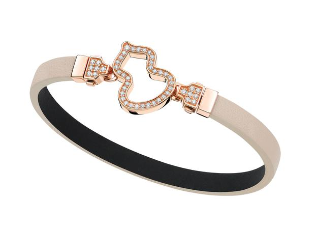 Wulu 18K玫瑰金钻石链扣可替换米色牛皮手链 RMB 26,500