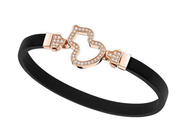 Wulu 18K玫瑰金钻石链扣可替换黑色牛皮手链 RMB 26,500