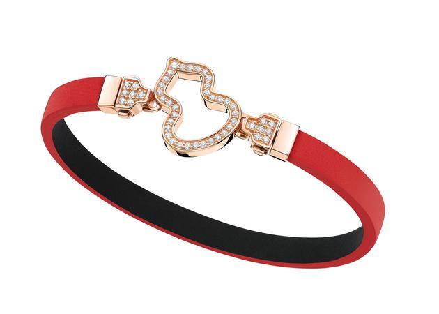 Wulu 18K玫瑰金钻石链扣可替换红色牛皮手链 RMB 26,500