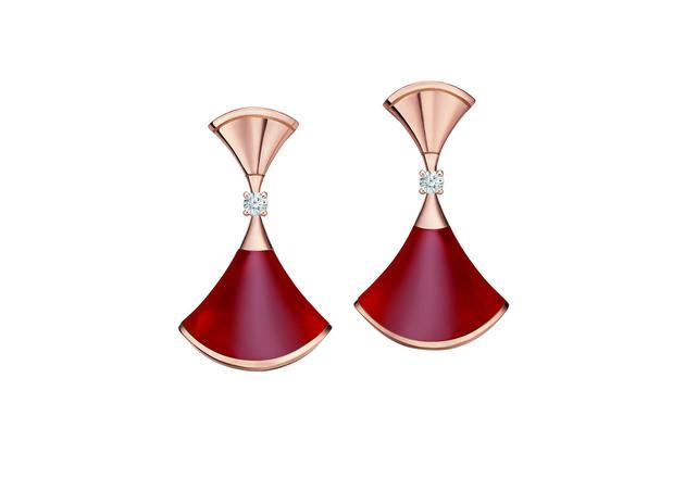 宝格丽Divas' Dream系列18K玫瑰金镶红玉髓钻石项链、戒指、耳环 Sap Code:CL858642/AN858645/OR858750