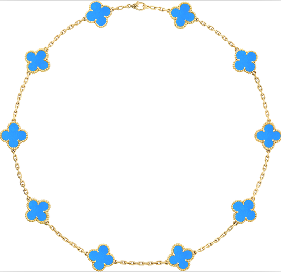 Vintage Alhambra项链,10枚四叶幸运图案 黄K金、蓝玛瑙