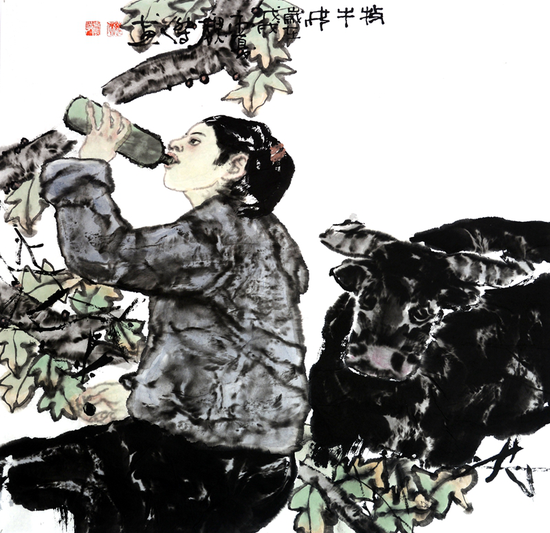 魏杰作品《牧牛》68X68cm 2018