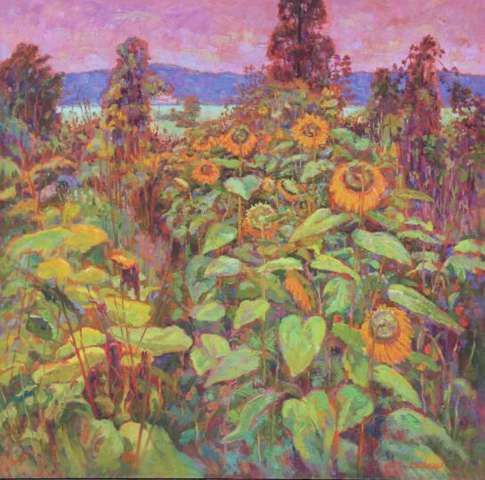 蔡志蔚《秋之葵》布面油画 150x150cm 2016