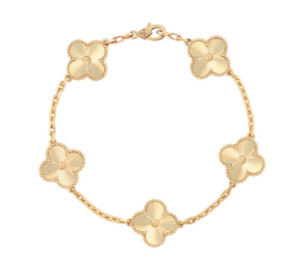 Vintage Alhambra手链,5枚四叶幸运图案 玑镂雕花黄K金