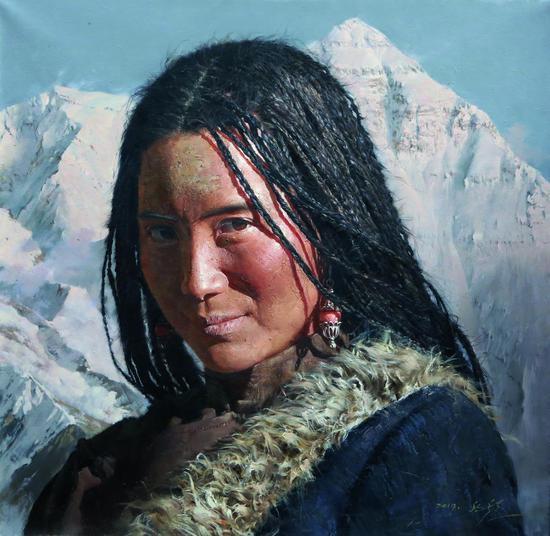 珠穆朗玛 黄哲(朝鲜) 布面油画 2019年作 117×120 cm
