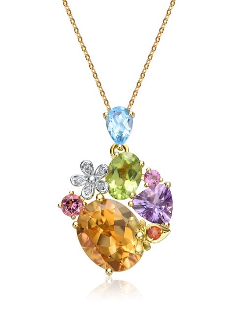 18K金镶托帕火蛋白石紫晶黄晶橄榄石粉红碧玺及钻石吊坠