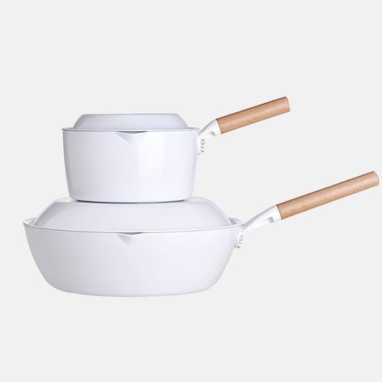 悦味元素奶锅炒锅两件套