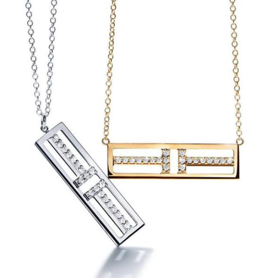 Tiffany & Co. 蒂芙尼T系列T Two 18K白金镶钻及18K黄金镶钻吊坠