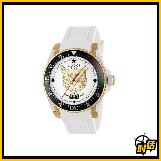 Gucci Dive系列白色潜水腕表,表盘上有虎头装饰
