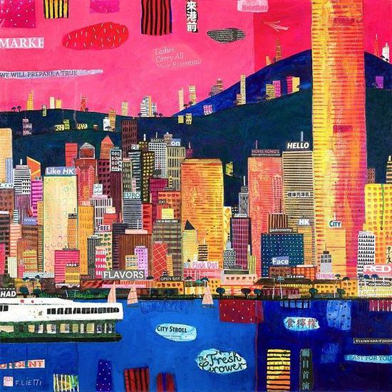 《新一波热情》弗朗西斯科·列蒂,2018,布本综合媒材,80 x 80厘米