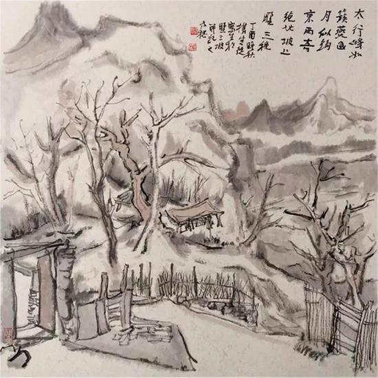 《坡上野三秋》68×68cm