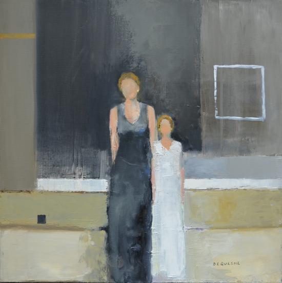 《母女》布面油画 80x80cm 2017年