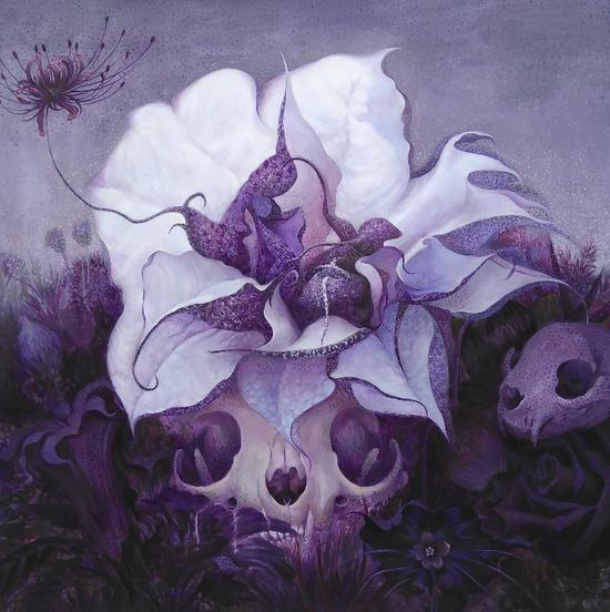 郭婉钰,Violet系列之三,木板丙烯,80×80cm