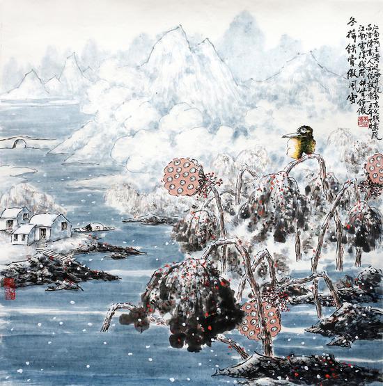 冬荷铁骨傲风雪,69x69cm,2013年作,水墨设色
