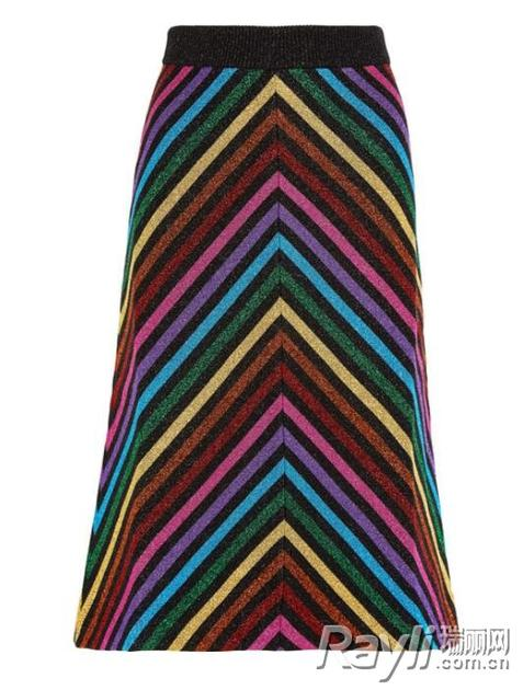 Gucci 条纹针织中长裙