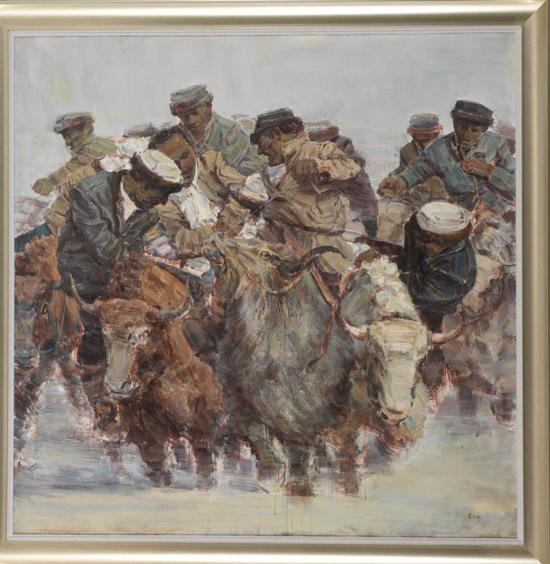 袁志刚《牦牛叼羊之?》180cmx180cm 油画 2011