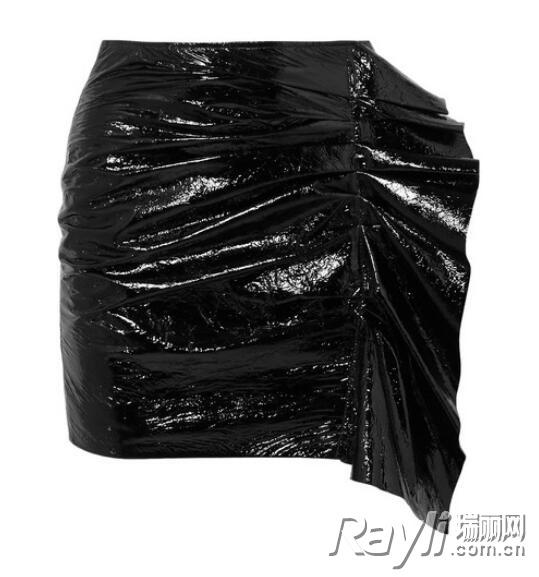 Isabel Marant荷叶边漆皮半身裙