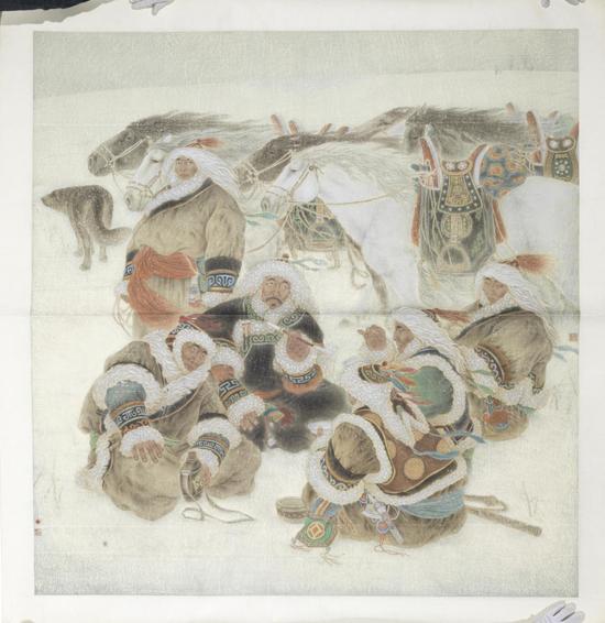 白嘎力《雪原》182cmx172cm 国画 2002年