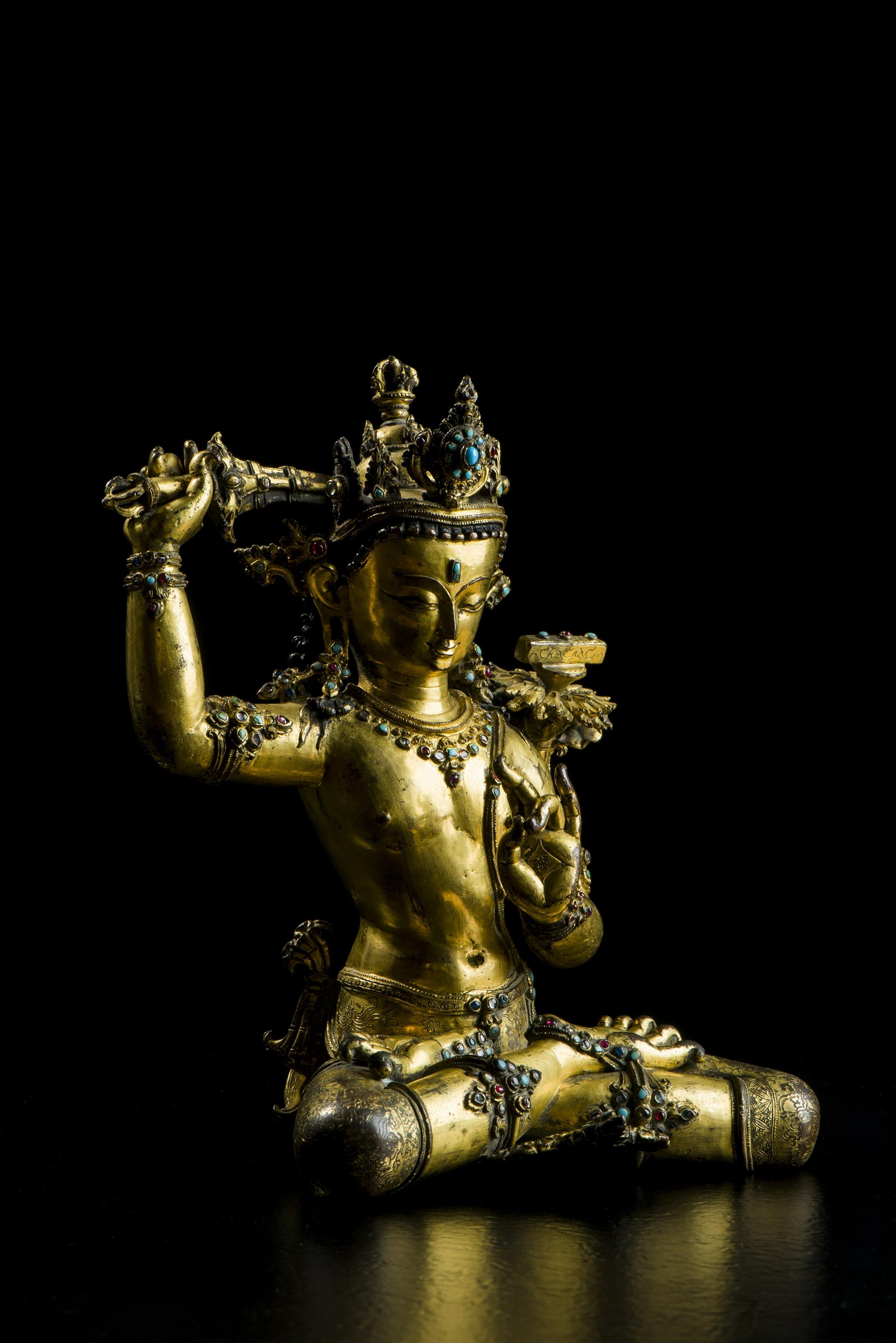 尼泊爾銅鎏金嵌寶石文殊菩薩像  隨喜古藝術