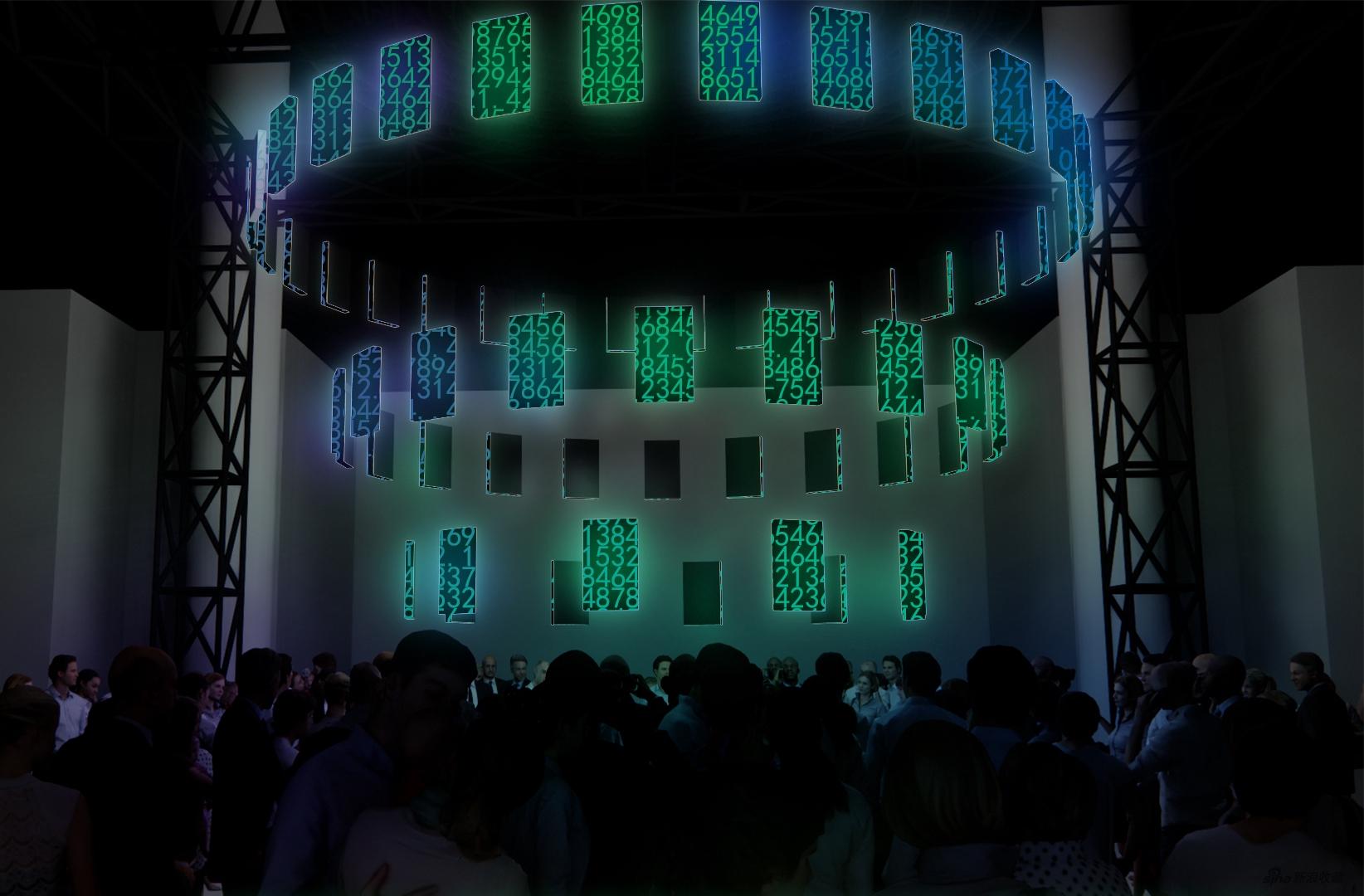 """任冬生在""""数置""""单元作品效果图 《人间、空间、时间和人》, LED, 600 ×600 × 350cm, 2021"""