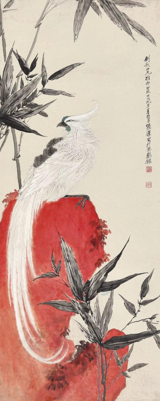 Lot 142 张善孖(1882-1940) 仁风披丹冈   立轴 设色纸本   1934年作   出版:《中国近代绘画丛刊·张善孖》第92至93页,(台北)雅墨文化事业有限公司,2014年12月   尺寸:133.8×53.8 cm。 约6.5平尺