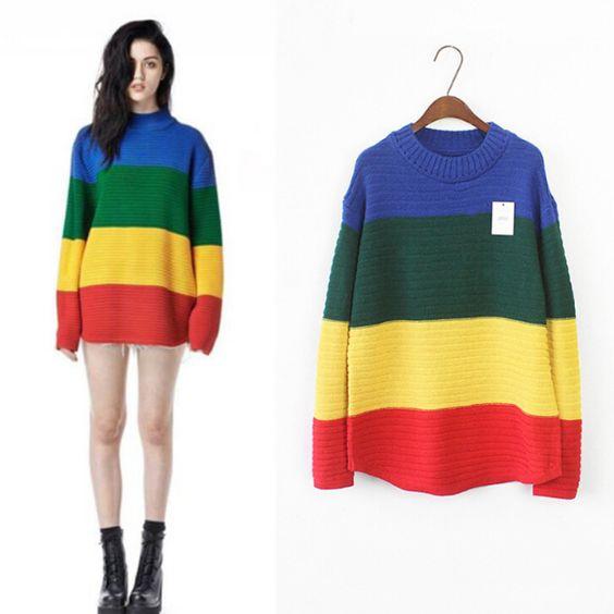 长款彩虹条纹针织衫