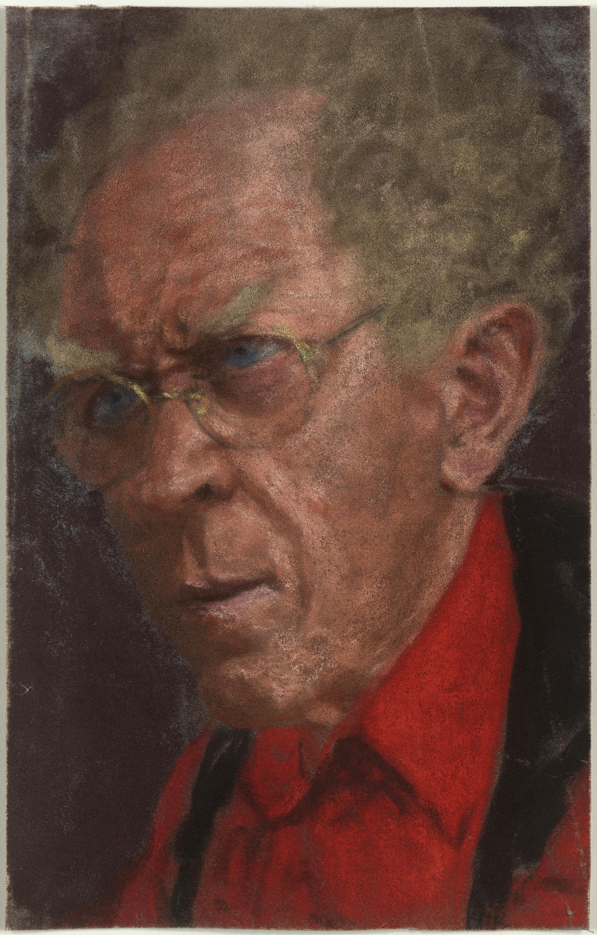 红衣自画像,阿维格多·阿利卡,纸本色粉,31×19.8cm,2000年