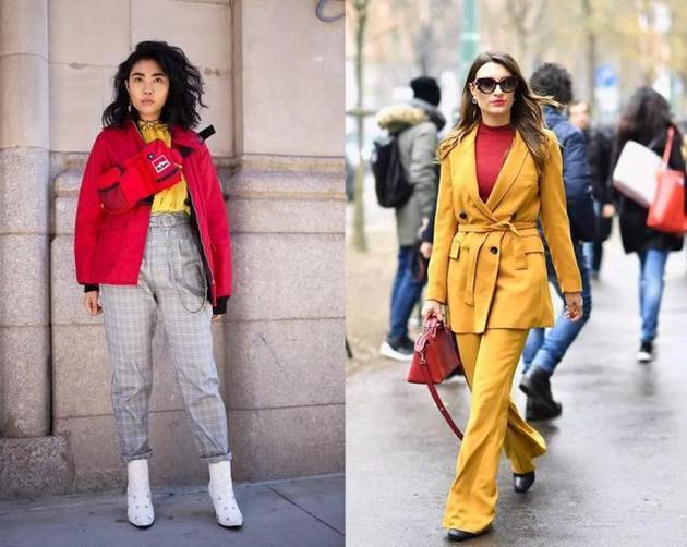 红黄搭配街拍照