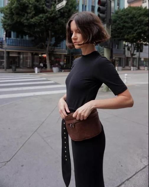 黑色连衣裙街拍