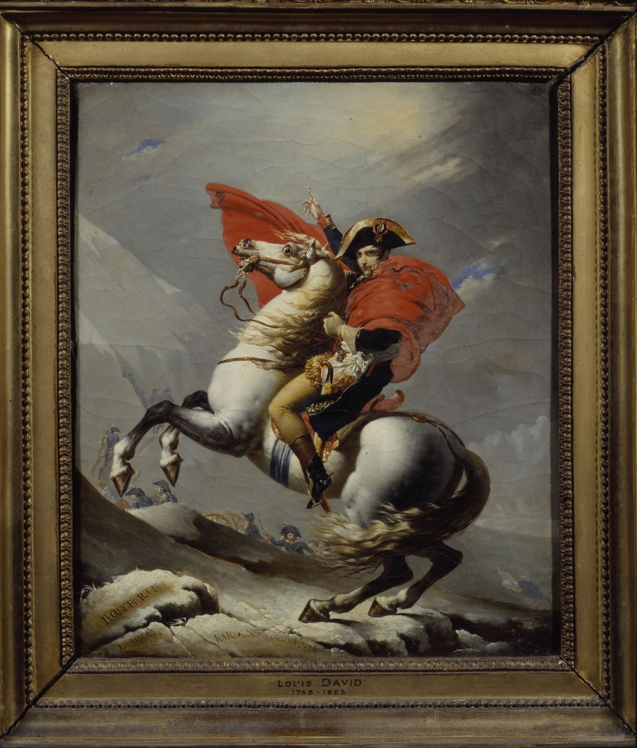拿破仑·波拿巴从大圣伯纳山口穿越阿尔卑斯山  让-巴普蒂斯特·莫扎伊斯 (1784-1844) 与雅克-路易·大卫 (1748-1825)   布面油画 50.8 × 45.72 cm 1807 图片:黄盒子美术馆