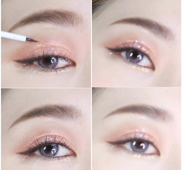 用带亮片的眼影或者眼线液,直接轻按上去