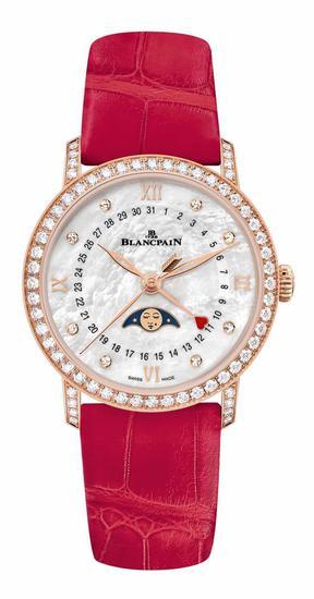 宝珀Blancpain月亮美人日期指示情人节限量版腕表,搭配红色短吻鳄鱼皮表带