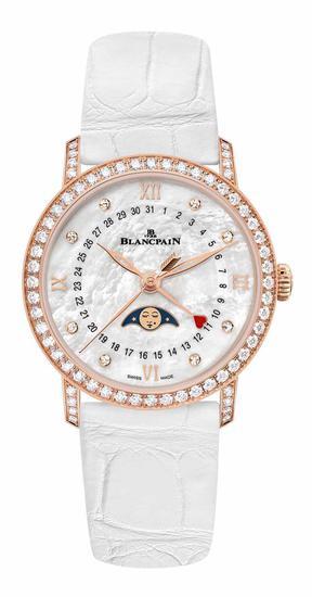 宝珀Blancpain月亮美人日期指示情人节限量版腕表,搭配白色短吻鳄鱼皮表带