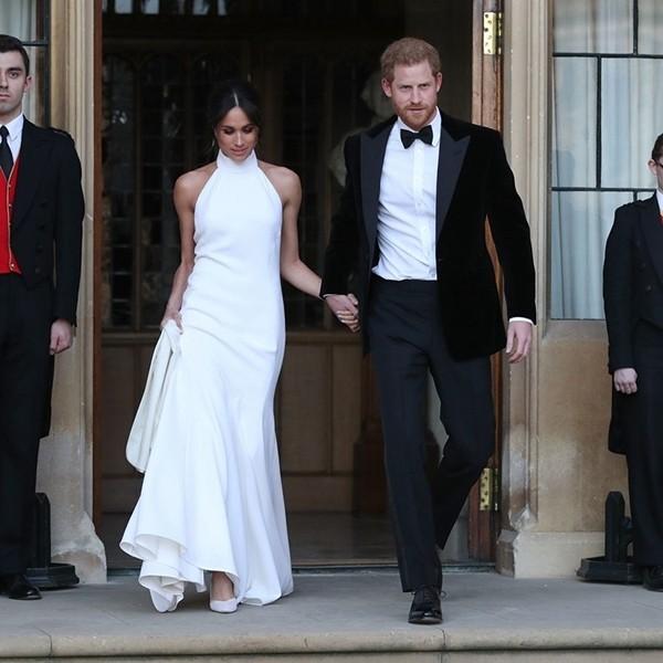 14款优雅纯白高领无袖长裙 王妃梅根同款婚宴礼服