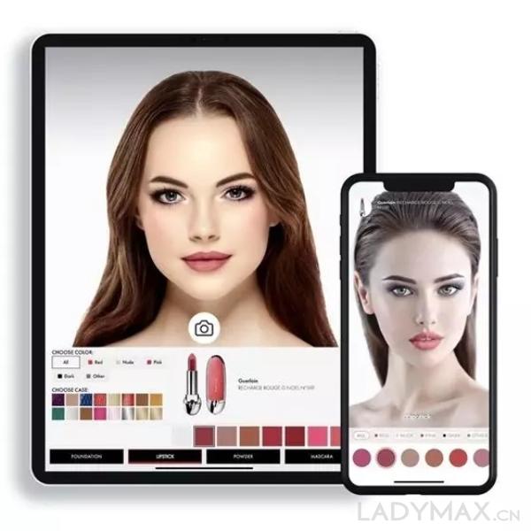 娇兰与数字美妆科技公司Voir Inc合作推出的试妆APP,可用于口红和彩妆试色