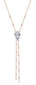 Forevermark永恒印记ENCORDIA拥爱系列两条18K玫瑰金珠流苏款吊坠 18K白金半包镶主钻