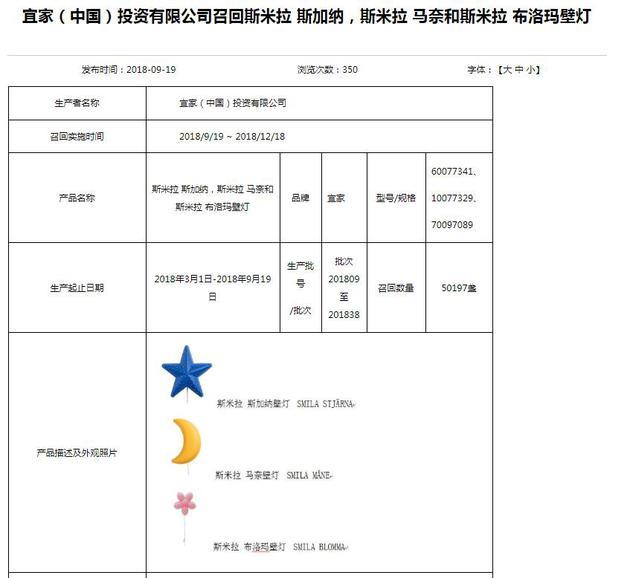 宜家将在中国召回3款壁灯 已致两名儿童触电