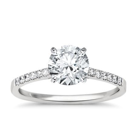 小巧大教堂密钉钻石订婚戒指 14k白金