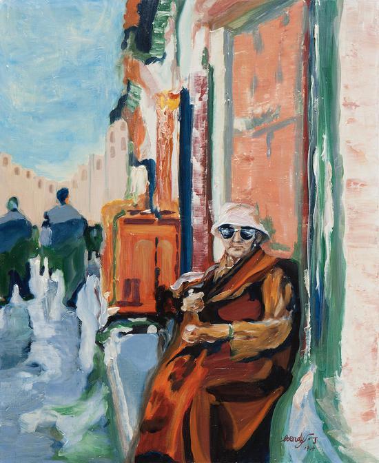 坐在街边的老奶奶,布面油画,2019,600 x 500mm
