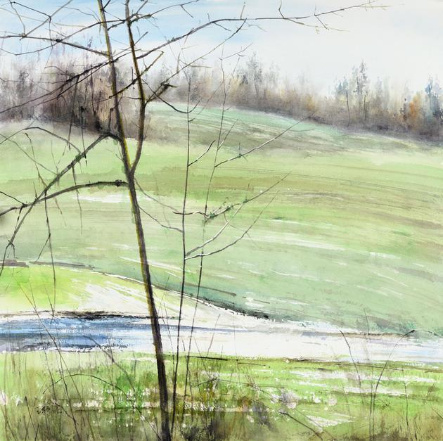 《不冻的溪流》纸本水彩 50x50cm