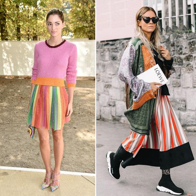 彩虹条纹裙的不同风格街拍