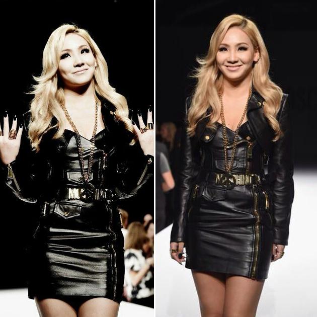 CL穿moschino皮裙亮相