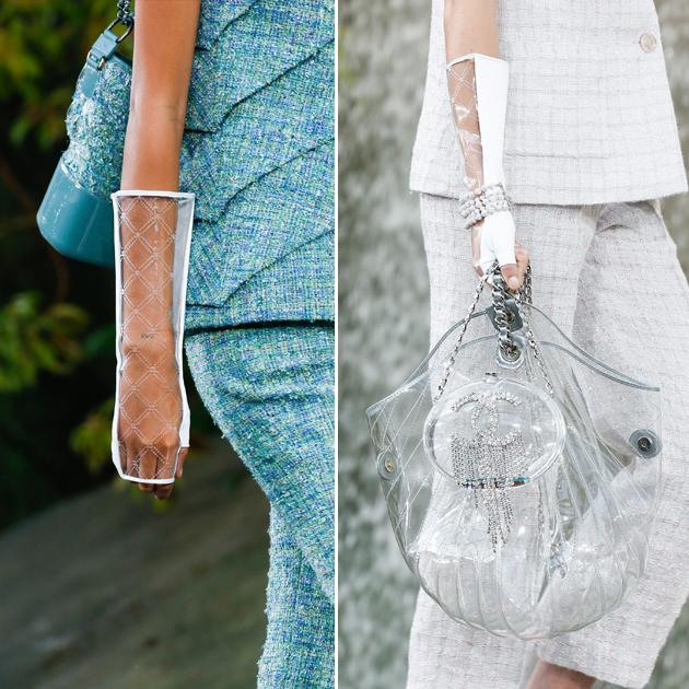 Chanel透明包包和透明手套